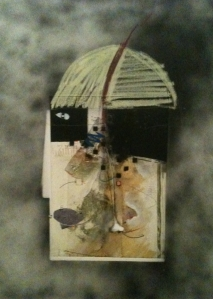 ink, chalk, spraypaint and collage on found print, 24h x 18, 2013